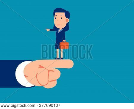 Businesswoman Pointing Different Direction. Right Direction Concept