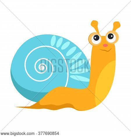 Smiling Snail With Blue Shell Flat Icon. Book Character, Sea Life, Garden Animal. Mollusk Concept. I
