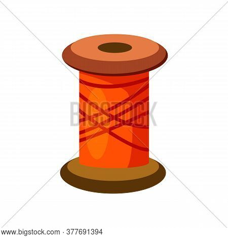 Bobbin Of Sewing Thread. Bright Orange Yarn. Can Be Used For Topics Like Needlework, Tailoring, Embr