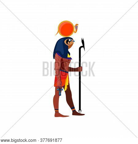 Egyptian Bird Person. Horus With Snake On Head, Ankh Cross And Stick. Can Be Used For Topics Like Cu