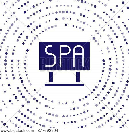 Blue Spa Salon Signboard Icon Isolated On White Background. Abstract Circle Random Dots. Vector Illu
