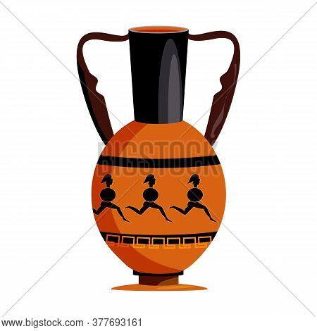 Clay Vase With Spartans Flat Icon. Amphora, Jug, Antiquity. Greek Vases Concept. Illustration Can Be