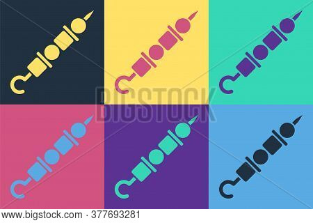 Pop Art Grilled Shish Kebab On Skewer Stick Icon Isolated On Color Background. Meat Kebab On Skewer