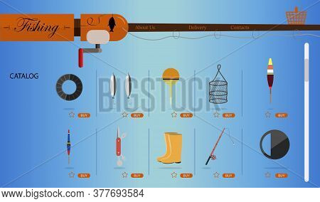 An Online Store For Fishing And Fishing Equipment. Flat Illustration Of The Site With Products And T