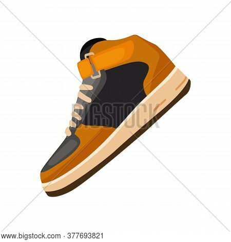 Black And Orange Gym Shoe. High-top Sneaker For Stroll. Can Be Used For Topics Like Shopping, Activi