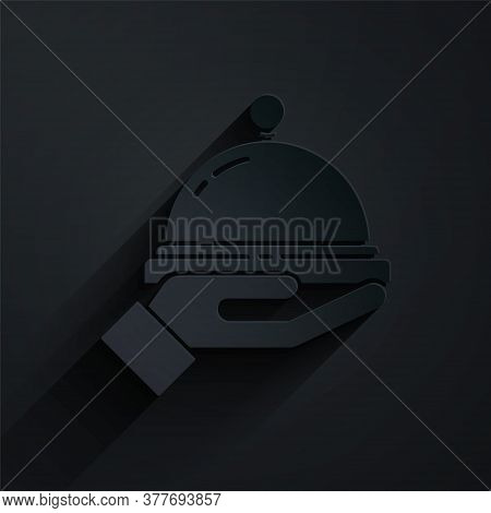 Paper Cut Covered With A Tray Of Food Icon Isolated On Black Background. Tray And Lid Sign. Restaura