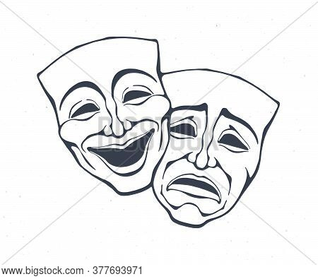 Two Theatrical Comedy And Drama Mask. Outline. Bipolar Disorder Symbol. Positive And Negative Emotio