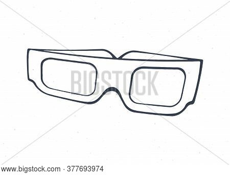 Cartoon Paper 3d Glasses Front View. Outline. Symbol Of The Film Industry. Stereo Retro Glasses For