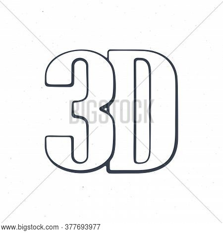 Abbreviation 3d For Three-dimensional Film. Outline. Lettering Style Icon For Stereo Movies. Symbol