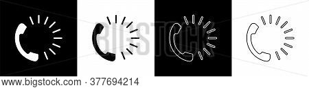 Set Food Ordering Icon Isolated On Black And White Background. Order By Mobile Phone. Restaurant Foo