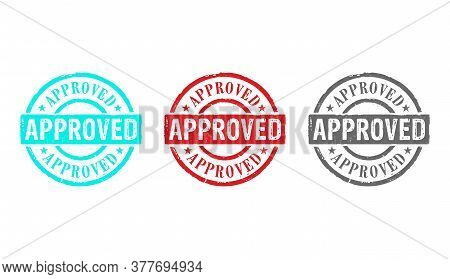 Approved Stamp Icons In Few Color Versions. Found, Accepted, Admitted And Success Concept.