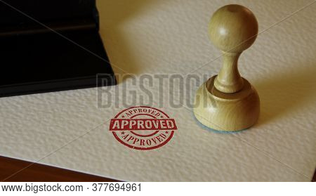 Approved Stamp And Stamping Hand. Found, Accepted, Admitted And Success Concept.