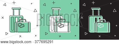 Set Suitcase For Travel Icon Isolated On White And Green, Black Background. Traveling Baggage Sign.