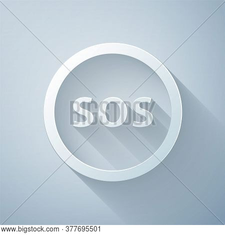 Paper Cut Location With Sos Icon Isolated On Grey Background. Sos Call Marker. Map Pointer Sign. Pap