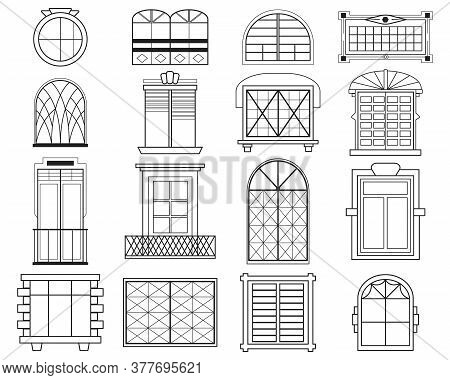 Different Silhouettes Of Window Frames Flat Icon Set. Decorative Vintage And Modern Window Arches Ve