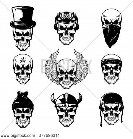 Different Skull Tattoo Flat Icon Set. Brutal Skulls With Helmet, Wings, Hat, Cap And Bandana Vector
