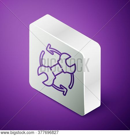 Isometric Line Wrench Spanner And Arrows As Workflow Icon Isolated On Purple Background. Adjusting,