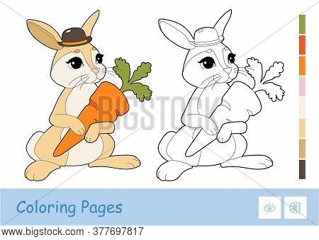 Colorful Template And Colorless Contour Image Of Cute Rabbit Holding A Carrot Isolated On White Back