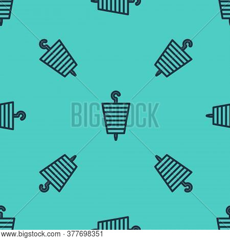 Black Line Grilled Shish Kebab On Skewer Stick Icon Isolated Seamless Pattern On Green Background. M
