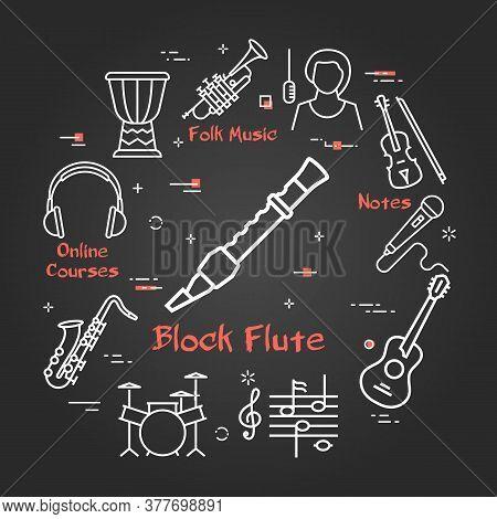 Vector Black Linear Banner For Music - Block Flute