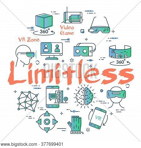 Vector Virtual Reality Concept With Limitless Text