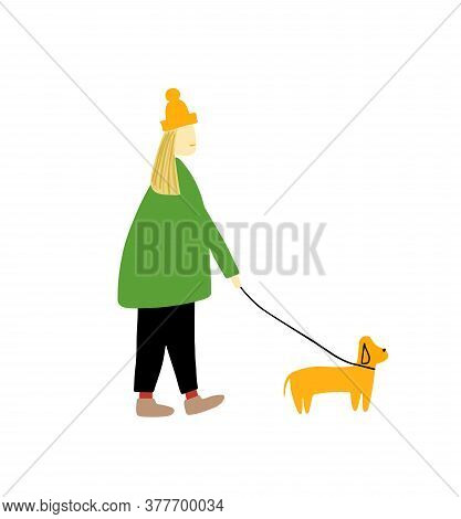 A Girl Walks With A Dog. Dog On A Leash. Vector Illustration Isolated On A White Background. Flat
