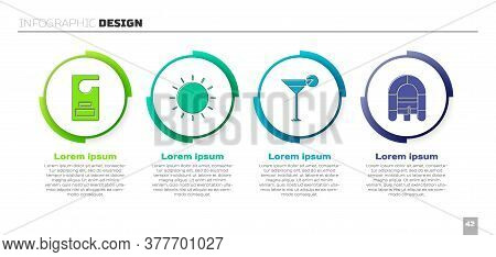 Set Please Do Not Disturb, Sun, Martini Glass And Rafting Boat. Business Infographic Template. Vecto
