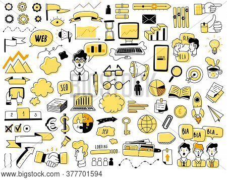 Web Analytics Doodle Icons Set. Seo Web Analytics Doodles Elements Set. Hand Drawn Vector Icons. Web