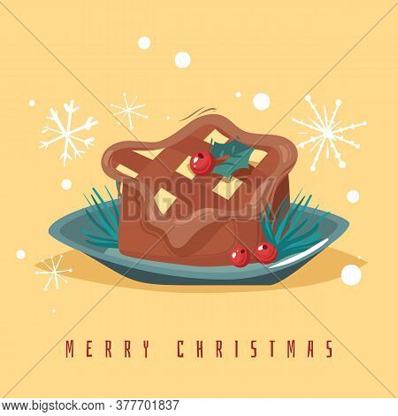 New Year Poster. Christmas Stollen Cake Poster. Vector Illustration. Holiday Baking Pie
