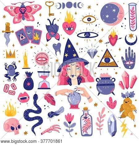 Magic Icons Doodles Set. Magic Witch Icons Set. Hand Drawn, Doodle, Sketch Style Vector Illustration