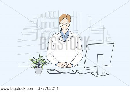 Health, Care, Medicine, Pharmacy Concept. Young Happy Smiling Man Or Guy Doctor Pharmacist Standing