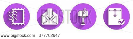 Set Postal Stamp, Envelope, Mail Box And Envelope And Check Mark Icon With Long Shadow. Vector
