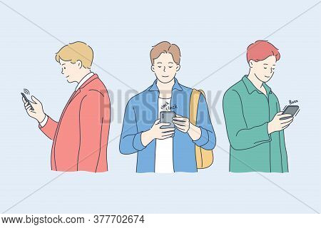 Communication, Technology, Media, Friendship Concept. Men Guys Teenagers Friends Characters Chatting