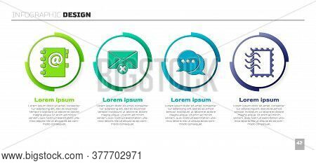 Set Address Book, Delete Envelope, Speech Bubble Chat And Postal Stamp. Business Infographic Templat
