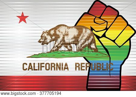 Shiny Lgbt Protest Fist On A California Flag - Illustration,  Abstract Grunge California Flag And Lg