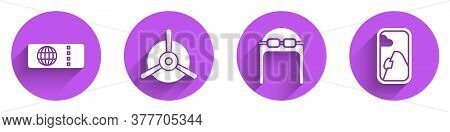 Set Airline Ticket, Plane Propeller, Aviator Hat With Goggles And Airplane Window Icon With Long Sha