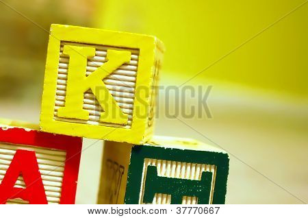 Toy blocks closeup