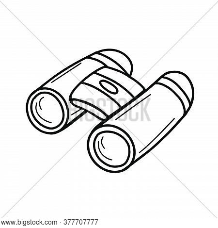Tourist Binoculars Isolated On A White Backgroun.long-range Vision Device, Image Intensifier Optical