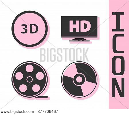 Set Cd Or Dvd Disk, 3d Word, Film Reel And Smart Display With Hd Video Icon. Vector
