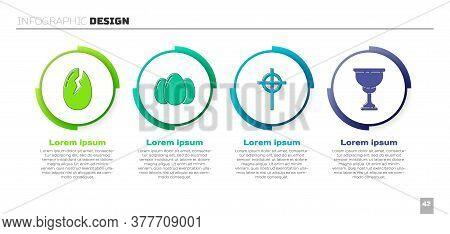 Set Broken Egg, Easter Eggs, Christian Cross And Christian Chalice. Business Infographic Template. V