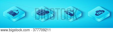 Set Isometric Eco Fuel Barrel, Earth Planet In Water Drop, Co2 Emissions In Cloud And Recycling Plas