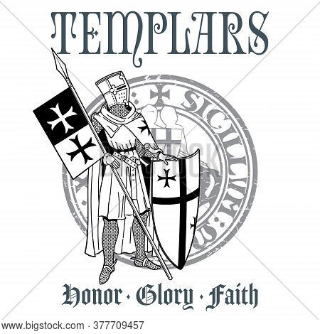 Knightly Design. Knight Templar In Armor With A Spear, Shield, Flag And Medieval Knight Seal