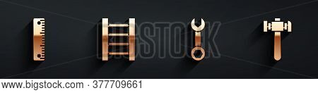 Set Ruler, Wooden Staircase, Wrench Spanner And Hammer Icon With Long Shadow. Vector