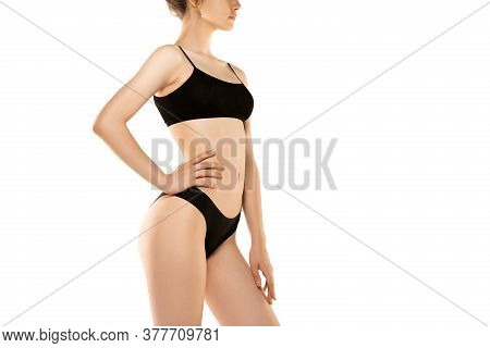 In Love With Herself. Beautiful Female Body Isolated On White Background. Beauty, Cosmetics, Spa, De