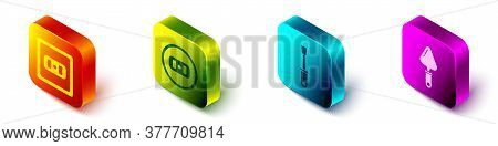 Set Isometric Electrical Outlet, Electrical Outlet, Screwdriver And Trowel Icon. Vector