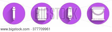 Set Pencil With Eraser, Eraser Or Rubber, Marker Pen And Paint Bucket Icon With Long Shadow. Vector
