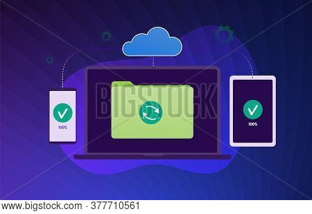 Cloud Data Backup Sync Flat Vector Modern Illustration. Cloud Computing Storage Network Connected An
