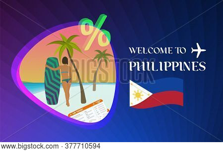 Welcome To Philippines Vector Illustration Concept. Sale Of Tours In Philippines Manila, Boracay Or