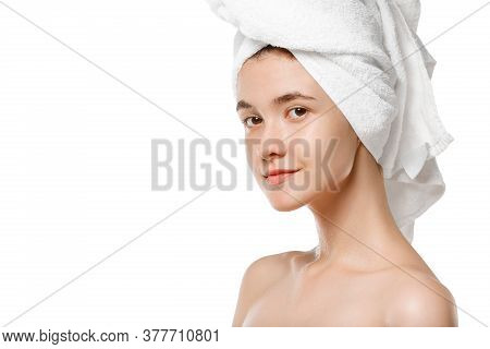 Beauty Day. Beauty Day. Woman Wearing Towel Doing Her Daily Skincare Routine Isolated On White Studi