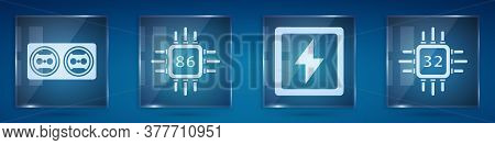 Set Electrical Outlet, Processor With Microcircuits Cpu, Lightning Bolt And Processor With Microcirc